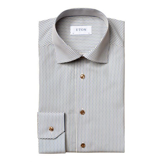 Yellow Glass Print Poplin Slim Fit Shirt
