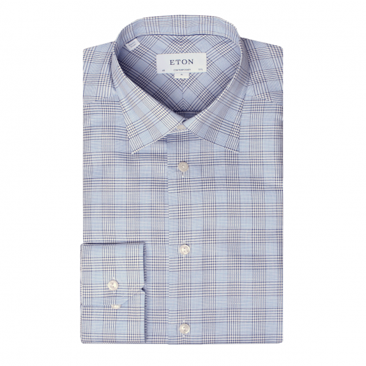 Blue & White Check Linen Contemporary Fit Shirt