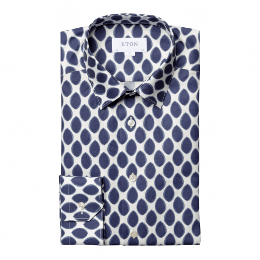 White & Navy Petal Print Flannel Slim Fit Shirt