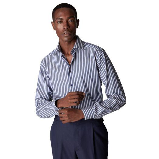 Blue Striped Piqué Contemporary Fit Shirt