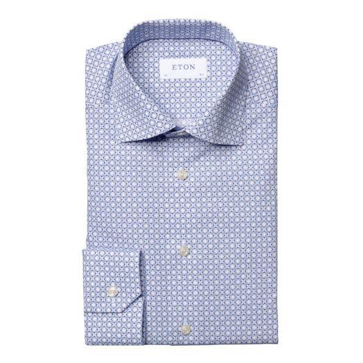 Blue Block Print Poplin Slim Fit Shirt