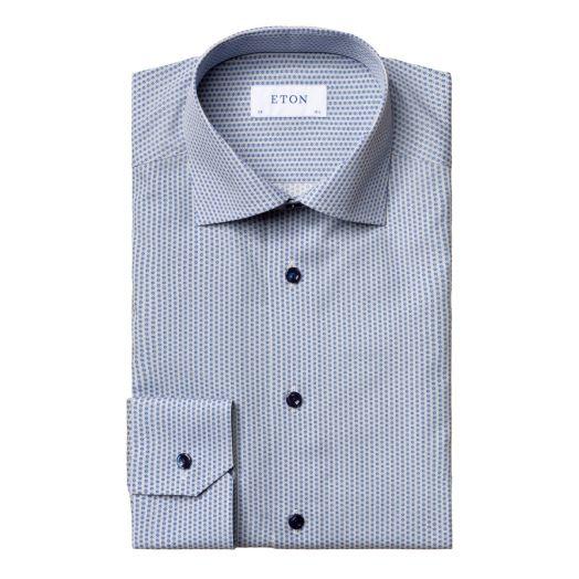 Blue Glass Print Poplin Contemporary Fit Shirt