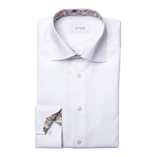 White Twill Slim Fit Shirt with Valley of Flowers Detailing
