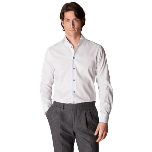 White Signature Twill Contemporary Shirt with Paisley Details