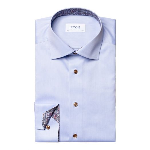 Light Blue Signature Twill Slim Fit Shirt with Paisley Details