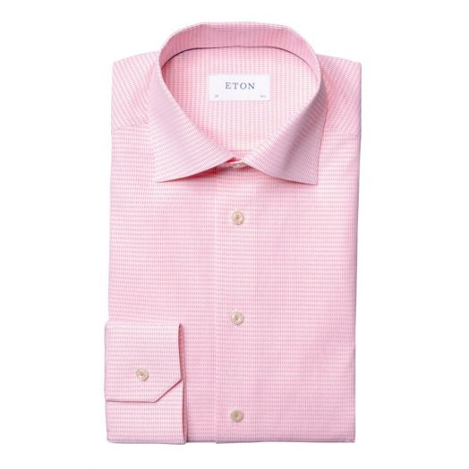 Pink Micro Woven Slim Fit Shirt