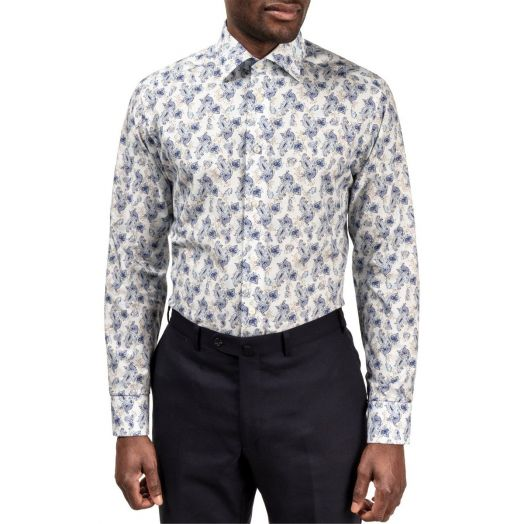Blue Floral Flannel Contemporary Fit Shirt