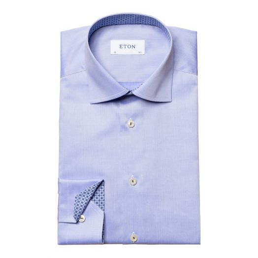 Light Blue Twill Slim Fit Shirt with Patterned Trim