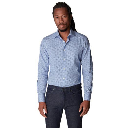 Blue Geometric Print Fine Twill Contemporary Fit Shirt