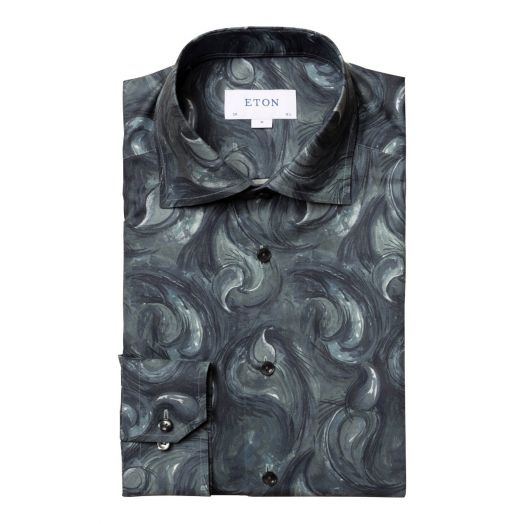 Midnight Blue Paisley Drop Slim Fit Shirt
