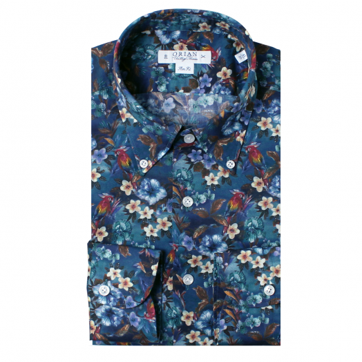 Floral and Parrot Print Cotton Shirt