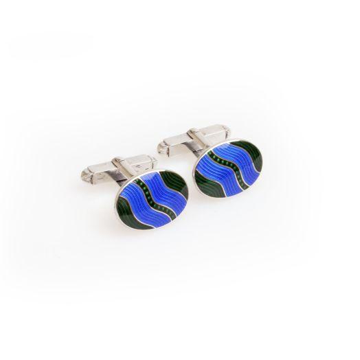 Green Wave Sterling Silver Cufflinks