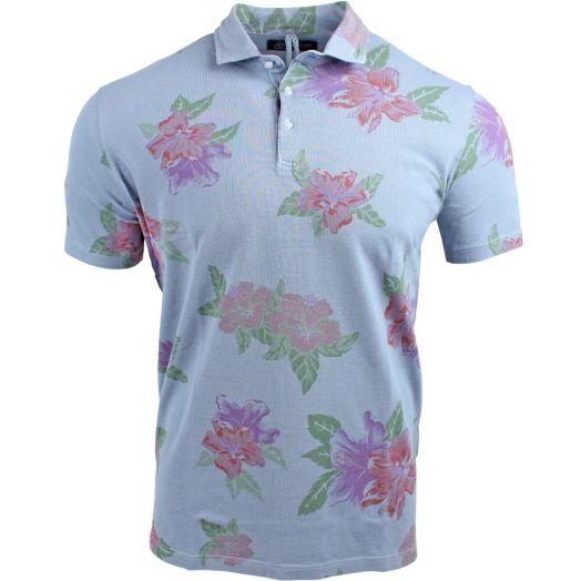 Grey Floral Piquet Cotton Vintage Effect Polo Shirt