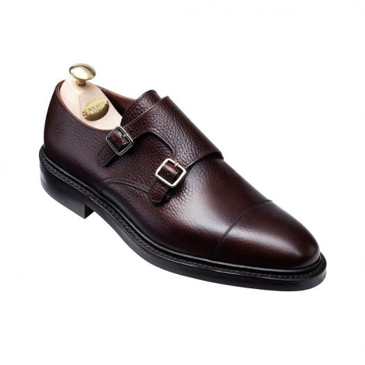 Harrogate Dark Brown Country Calf Grain Double Buckle Monk Shoes