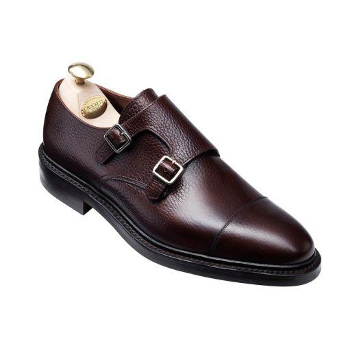 Harrogate Dark Brown Country Calf Grain Double Buckle Monk Shoes