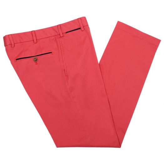 Coral Red Cotton Chino Trousers