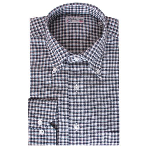 Blue and Brown Check Cashmerello Shirt