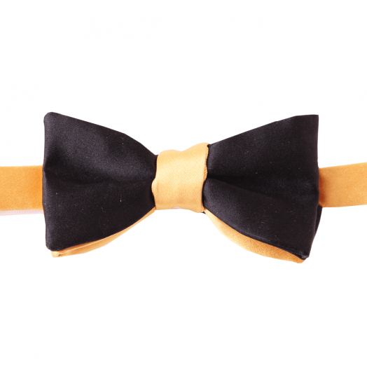 Black & Gold Two-Tone Silk Bow Tie