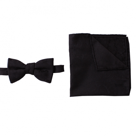 Black Patterned Weave Silk Bow Tie & Handkerchief Set