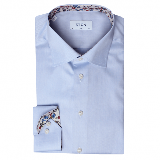 Blue Twill Valley Of Flowers Trim Slim Fit Shirt