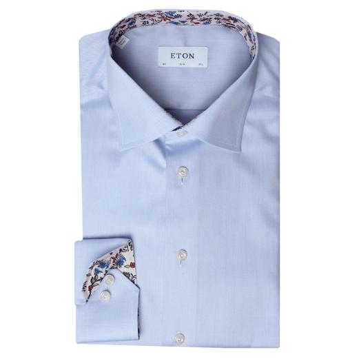 Blue Twill Valley Of Flowers Trim Slim Fit Shirt