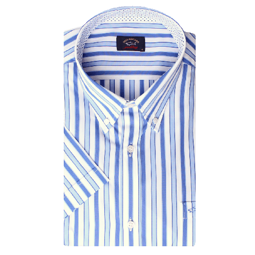 White & Blue Stripe Geometric Trim Button-Down Short Sleeve Shirt