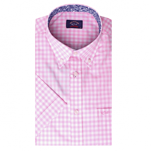 White & Pink Check Floral Trim Button-Down Short Sleeve Shirt