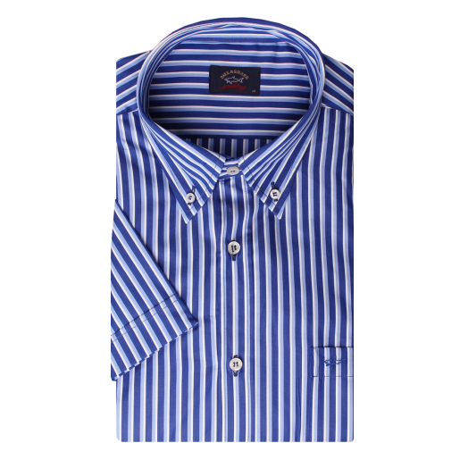 Blue Striped Short Sleeve Button-Down Short Sleeve Shirt