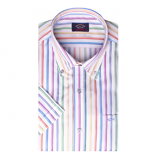 Rainbow Pin Stripe Button-Down Short Sleeve Shirt