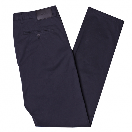 Navy Slim Fit Stretch Cotton Chino Trousers