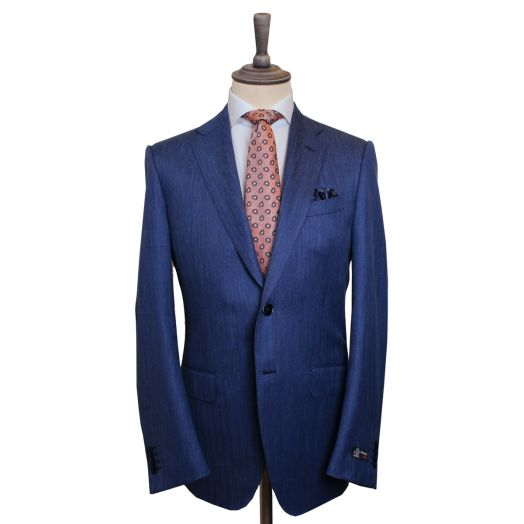 Blue Wool Silk Blend Textured Weave Two Piece Suit