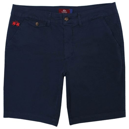 Navy Slim Fit Cotton Twill Shorts