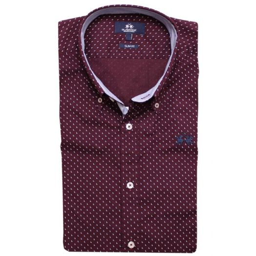 Port Royale Red Poplin Cotton Shirt
