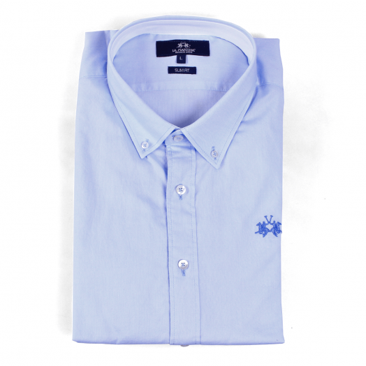 Cornflower Blue Slim Fit Long Sleeve Cotton Shirt