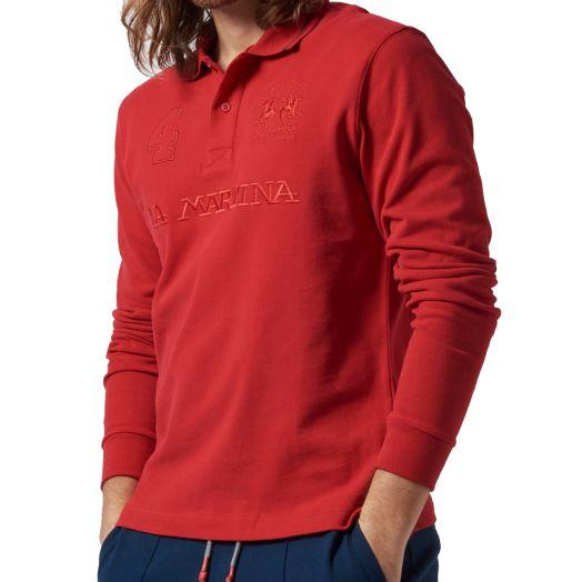 Haute Red Cotton Polo Sweater