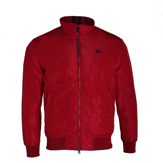 Haute Red Nylon Outdoor Bomber Jacket
