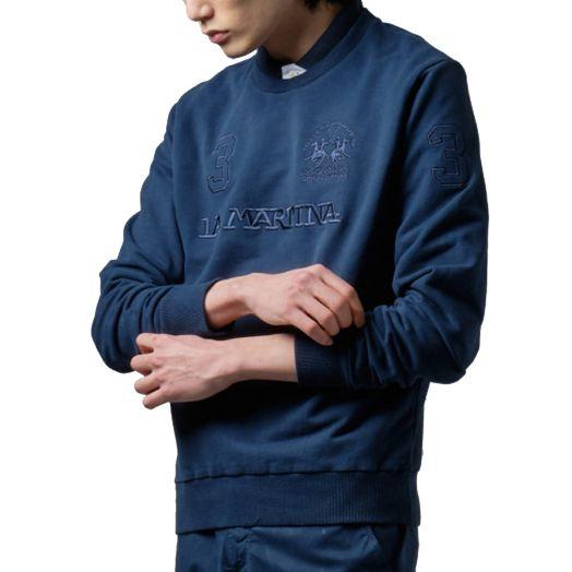 Navy Embroidered Brushed Cotton Sweatshirt