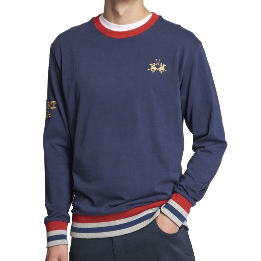 Navy Cotton Red Trim Crewneck Sweatshirt