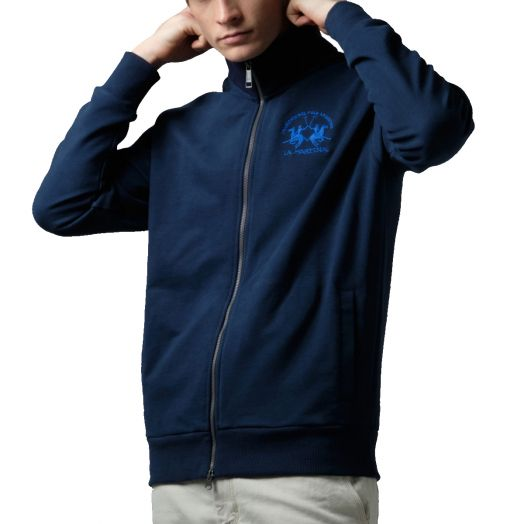 Navy Full-Zip Brushed Cotton Sweatshirt