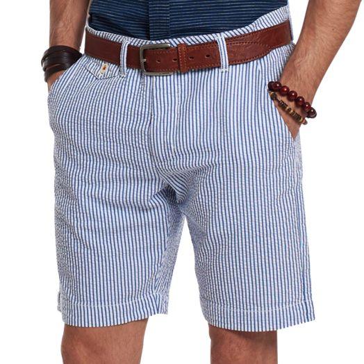 Off-White & Navy Striped Bermuda Seersucker Shorts