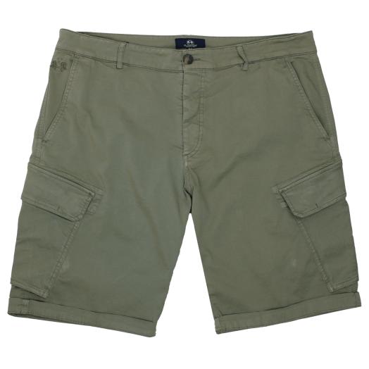 Olive Bermuda Stretch Slim Cargo Twill Shorts