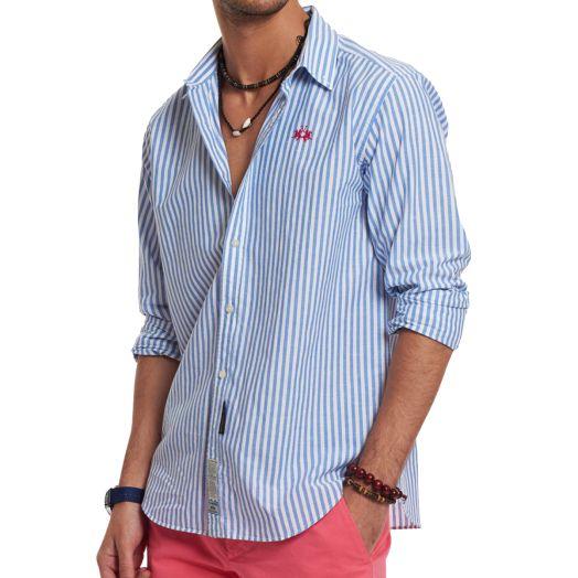 Optic White & Blue Striped Linen Blend Shirt