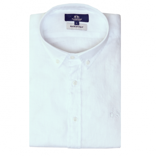 Optic White Regular Fit Long Sleeve Linen Shirt
