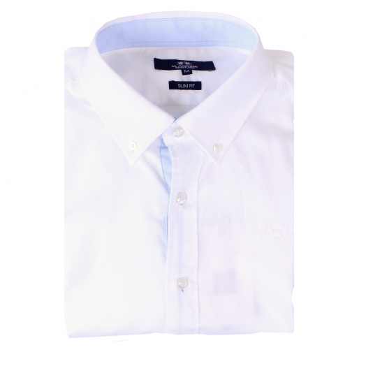 Optic White Slim Fit Long Sleeve Cotton Shirt