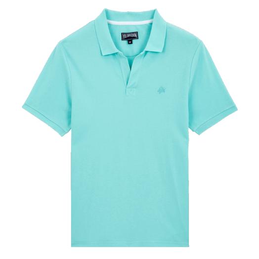 Blue Lagoon Cotton Piqué Palatin Polo Shirt