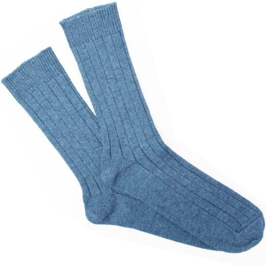 Lapis Blue Ribbed Cashmere Blend Socks
