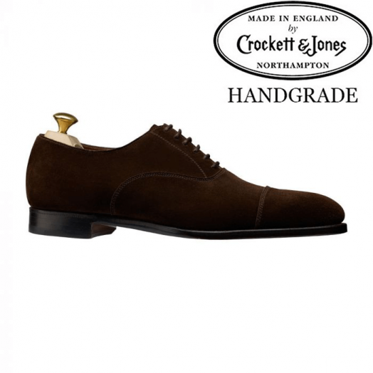Lonsdale Dark Brown Calf Suede Oxford Shoes