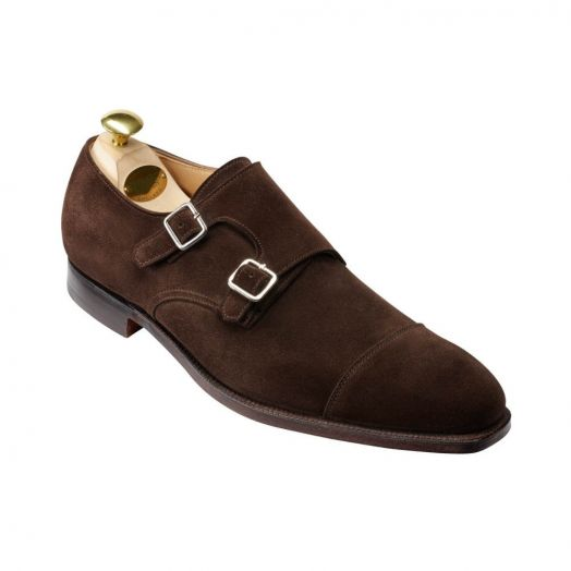 Lowndes Espresso Calf Suede Double Buckle Monk Shoes
