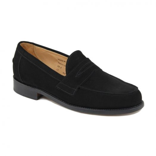Madrid Black Suede Butt Seam Penny Loafer