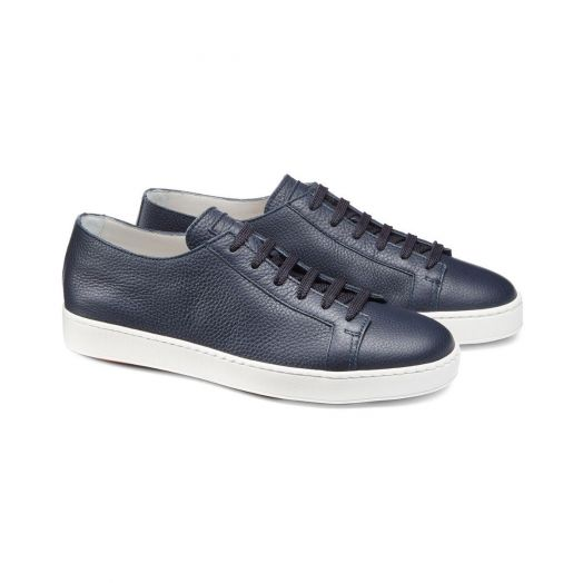 Navy Leather Low-Top Sneakers